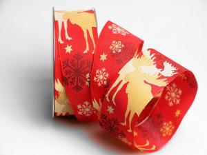 Weihnachtsband Elche rot 40mm mit Draht