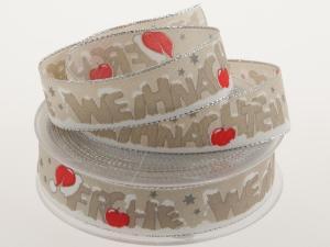 Weihnachtsband Frohe Weihnachten Toffee 25 mm mit Draht - Geschenkband günstig online kaufen!