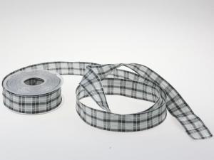 Weihnachtsband Weihnachtskaro grau 40mm mit Draht