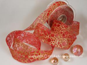 Weihnachtsband Phyton Rot mit Draht 40mm