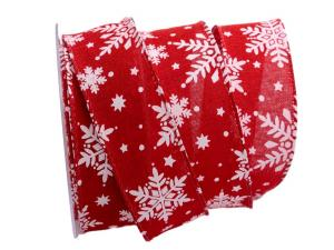 Weihnachtsband Neve rot 40mm mit Draht