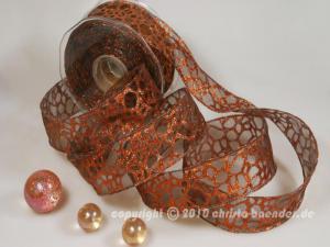 Weihnachtsband Phyton Braun mit Draht 40mm