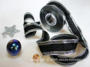 Weihnachtsband Gold Line Schwarz Silber mit Draht 40mm