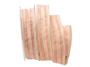 Streifenband Rosé rosa / creme 25mm mit Draht