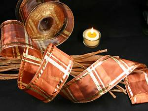 Tischband Längskaros Braun/Gold mit Draht 65mm
