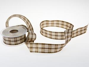 Weihnachtsband Weihnachtskaro braun 40mm mit Draht