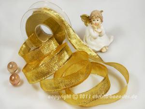 Weihnachtsband Brokatband Gold mit Draht 25mm