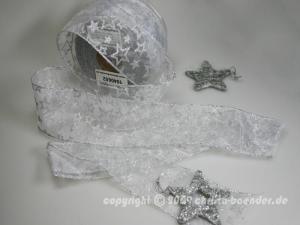 Weihnachtsband Sternenregen Weiss mit Draht 62mm