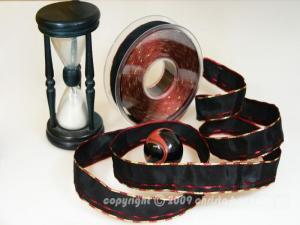 Weihnachtsband Nürnberg Schwarz Bordeaux mit Draht 25mm