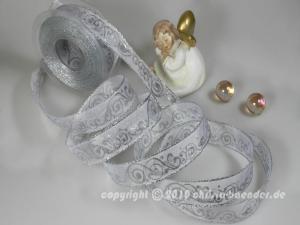 Weihnachtsband Nostalgie Silber mit Draht 25mm