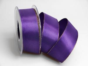 Uniband lila mit Goldkante ohne Draht 40mm
