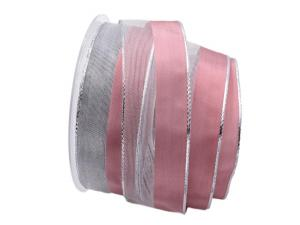 Weihnachtsband Marina rosa mit Draht 40mm