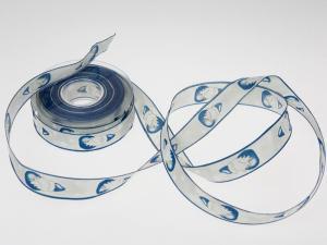 Weihnachtsband Nikolaus mit Draht blau 25 mm