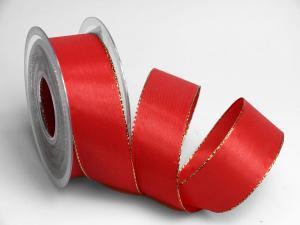 Uniband rot mit Goldkante ohne Draht 40mm