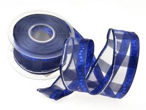 Weihnachtsband Bamberg blau mit Draht 40mm - Geschenkband günstig online kaufen!