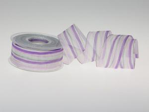 Weihnachtsband Candy-Striped flieder 40mm mit Draht