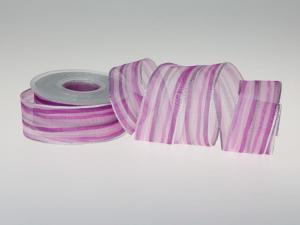 Weihnachtsband Candy-Striped Pink 40mm mit Draht