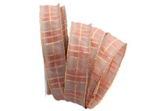 Weihnachtsband Rispecchiato rosa 25mm mit Draht