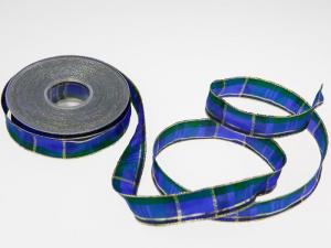 Weihnachtsband Mekka Blau mit Draht 25mm
