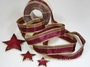 Weihnachtsband Gold Line Aubergine mit Draht 25mm