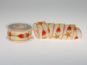 Weihnachtsband Lebkuchen rot mit Draht 40mm