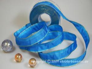 Weihnachtsband Gold Line Hellblau mit Draht 25mm
