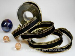 Weihnachtsband Gold Line Schwarz ohne Draht 25mm
