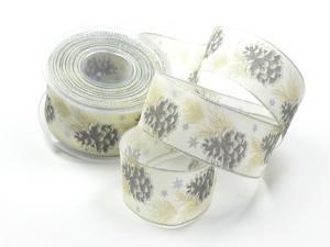 Weihnachtsband Tannenzapfen grau mit Draht 40mm - im Bänder Großhandel günstig kaufen!