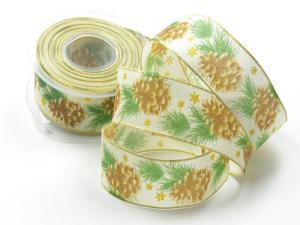 Weihnachtsband Tannenzapfen braun mit Draht 40mm - im Bänder Großhandel günstig kaufen!