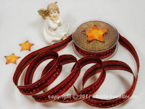 Weihnachtsband Silvretta Bordeaux mit Draht 25mm