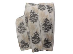 Weihnachtsband Tannenzapfen grau mit Draht 25mm
