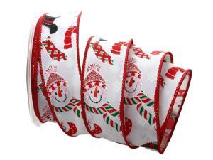 Weihnachtsband Schneemann weiß mit Draht 40mm