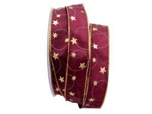 Weihnachtsband Sternenhimmel lila / aubergine 25mm mit Draht