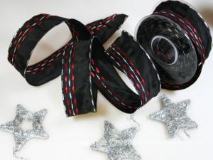 Weihnachtsband Nürnberg Schwarz Rot mit Draht 40mm