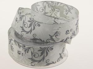 Weihnachtsband Hirsch 40mm grau mit Draht