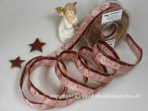 Weihnachtsband Jerusalem Altrosa mit Draht 25mm