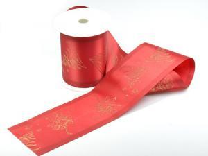 Weihnachtsband Weihnachtsbaum rot/gold ohne Draht 100mm - im Bänder Großhandel günstig kaufen!