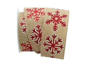 Weihnachtsband Eiskristall natur / rot 62mm mit Draht