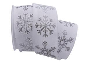 Weihnachtsband Eiskristall weiß 62mm mit Draht