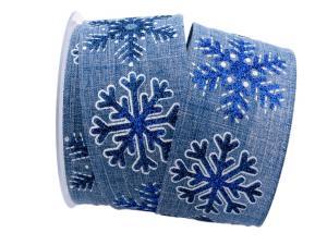 Weihnachtsband Eiskristall blau 62mm mit Draht
