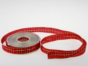 Weihnachtsband Weihnachtskaro rot 25mm mit Draht