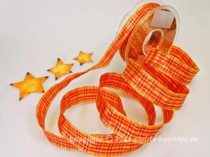 Weihnachtsband Weihnachtskaro Orange mit Draht 25mm - Geschenkband günstig online kaufen!