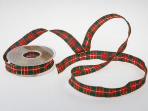 Weihnachtsband Weihnachtskaro grün 25mm mit Draht