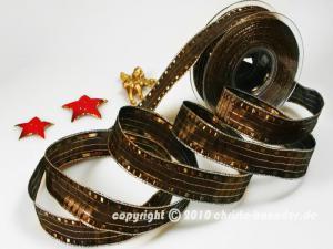 Weihnachtsband Cinema Braun mit Draht 25mm