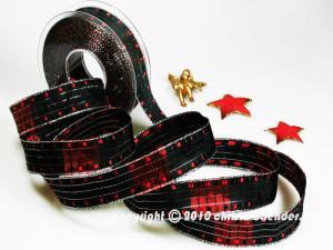 Weihnachtsband Cinema Schwarz Rot mit Draht 25mm