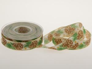 Weihnachtsband Tannenzapfen 25mm braun mit Draht - im Bänder Großhandel günstig kaufen!