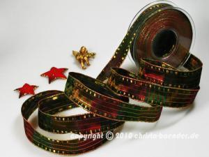 Weihnachtsband Cinema Rot Grün mit Draht 25mm