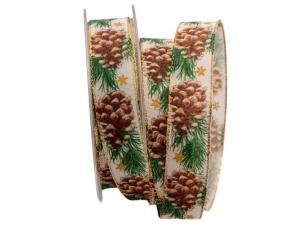 Weihnachtsband Tannenzapfen braun mit Draht 25mm