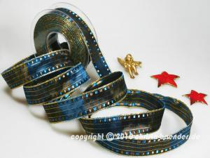 Weihnachtsband Cinema Hellbraun mit Draht 25mm