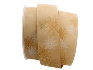 Weihnachtsband moderne Sterne gold 40mm mit Draht
